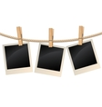Photos hanging on a clothesline vector image vector image