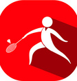Badminton icon on red badge vector image