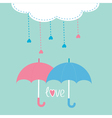 Cloud with hanging rain drops and two umbrellas vector image