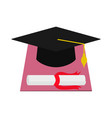 square academic cap and diploma graduation vector image