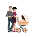 young family with baby in stroller vector image