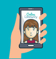 community online with hand holdign smartphone vector image