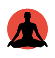 Human silhouette in yoga pose vector image