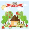 garden in flat style vector image