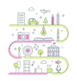 Road through Imaginary Line Town Creative Process vector image vector image