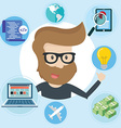 Freelancer and icons around Flat style vector image