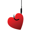 Heart on fishhook vector image
