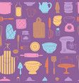 kitchen utensils food kitchenware cooking set vector image