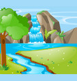 scene with river and waterfall vector image