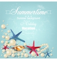 Vintage holiday banner with pearls and starfishes vector image