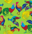 colored roosters pattern vector image