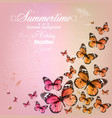 Colorful vintage summer background with butterfly vector image