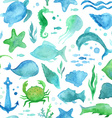 Seamless watercolor sea life pattern vector image