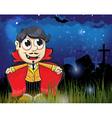 Halloween vampire in the night cemetery vector image
