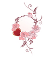 frame with heart and roses vector image vector image