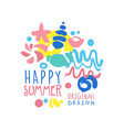 happy summer logo original design label for vector image