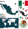 Mexico map world vector image