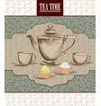tea cup kettle retro card tea time vintage vector image