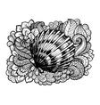 Zentangle stylized seashell with doodle swirls and vector image