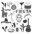 Mexico Party Icons Set vector image