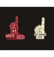 Foam finger supporters american football element - vector image
