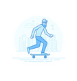Man riding skateboard - in simple trendy style vector image vector image