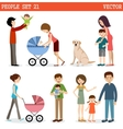 set of people with children and dog vector image
