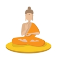 A monk meditating in the lotus position icon vector image