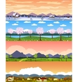 Four seasons landscape cartoon seamless vector image