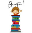 little boy and books with phrase education vector image