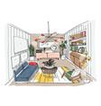modern living room interior furnished drawing vector image