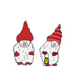 outline set of trolls gnomes with beards and long vector image