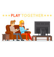 play together gamer young girl boy watching tv vector image