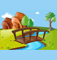 scene with bridge in the park vector image