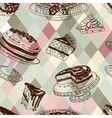 seamless patten with party pastry and vector image