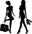 shopping women silhouettes vector image