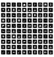 100 music icons set grunge style vector image