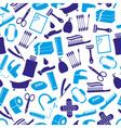 hygiene theme modern simple blue icons seamless vector image