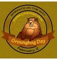 Groundhog Day Round label vector image