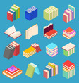 stack of color books set isometric view vector image