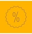 Discount label line icon vector image