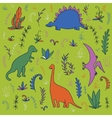 dinosaurs and prehistoric plants vector image