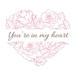 Valentine Card with roses in heart shape vector image