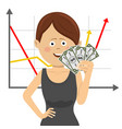 businesswoman with fan of money vector image