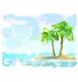 coconut palm trees on small island vector image