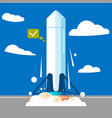 launching a rocket at a station vector image
