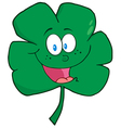 Happy Green Clover Cartoon Character vector image