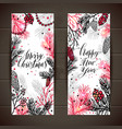 merry christmas greeting set of banners with new vector image