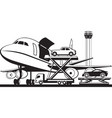 loading cars in cargo airplane vector image