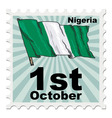 post stamp of national day of Nigeria vector image
